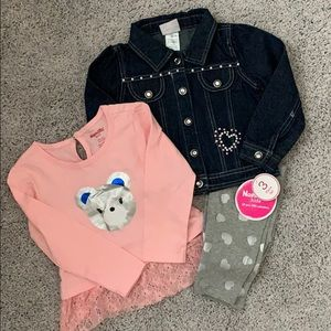 NWT 3-Piece Jean jacket outfit size 3T